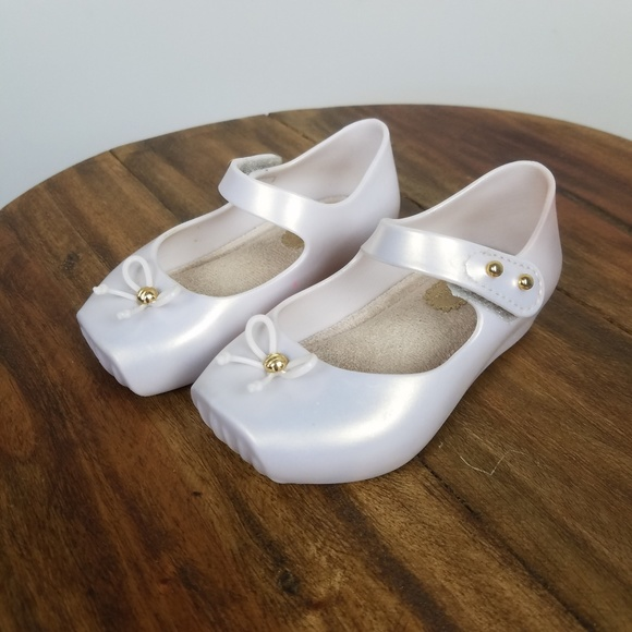 Mini Melissa Pearl White Ballet Flats